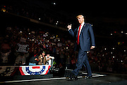 Republican Presidential nominee Donald J. Trump takes the stage for a rally at Mohegan Sun Arena in Wilkes-Barre Twp. on Monday, Oct. 10, 2016.<br />
