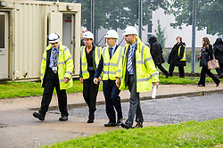 """Pictured: Contractor John  McArthur (left) and Mark Breen from Scottish Prisons Service Estates and technical services (Right) discussed the demolition with the Minister and Govenor Caroline Johnstone<br /> Justice Secretary Michael Matheson joined governor Caroline Johnstone to mark the start of demolition of Corton Vale Prison today. Cornton Vale is a women's prison in Stirling, operated by the Scottish Prison Service. Built in 1975, Cornton Vale comprises a total of 217 cells in its 5 houses. Ministers decided to close the prison after former Lord Advocate Elish Angiolini warned it was """"not fit for purpose"""".<br />  <br /> Ger Harley 