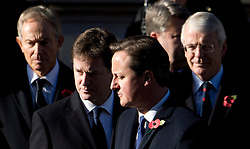 © London News Pictures. 11/11/2012. London, UK. Front L to R  Tony Blair, Nicj Clegg, David Cameron and John Major during a Remembrance Day Ceremony at the Cenotaph on November 11, 2012 in London, United Kingdom. Photo Credit: Ben Cawthra/LNP