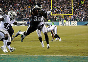 Dec 25, 2017; Philadelphia, PA, USA; Philadelphia Eagles running back Jay Ajayi (36) scores a touchdown during a NFL football game at Lincoln Financial Field. The Eagles defeated the Raiders 19-10. Photo by Reuben Canales