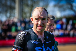 An exhausted Ian Stannard (GBR) Team Sky finishes in 3rd place in Roubaix Velodrome at the end of the 114th edition of  Paris Roubaix 2016 race running 255.5km from Compiegne to Roubaix, France. 10th April 2016.<br /> Photo by Eoin Clarke / PelotonPhotos.com<br /> <br /> All photos usage must carry mandatory copyright credit (&copy; Peloton Photos | Newsfile | Eoin Clarke)