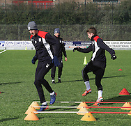 Dundee&rsquo;s Kevin Holt and Craig Wighton - Dundee FC training ahead of the visit to Motherwell at GA Arena, Dundee.Photo: David Young<br /> <br />  - &copy; David Young - www.davidyoungphoto.co.uk - email: davidyoungphoto@gmail.com