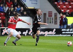 Bristol City's Scott Wagstaff nicks the ball from Walsall's Andy Taylor  - Photo mandatory by-line: Joe Meredith/JMP - Mobile: 07966 386802 12/04/2014 - SPORT - FOOTBALL - Walsall - Banks' Stadium - Walsall v Bristol City - Sky Bet League One