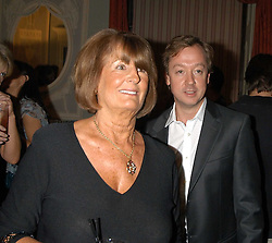 LADY ANNABEL GOLDSMITH and GEORDIE GREIG at a party hosted by Tatler magazine to celebrate the publication of Lunar park by Bret Easton Ellis held at Home House, 20 Portman Square, London W1 on 5th October 2005.<br />