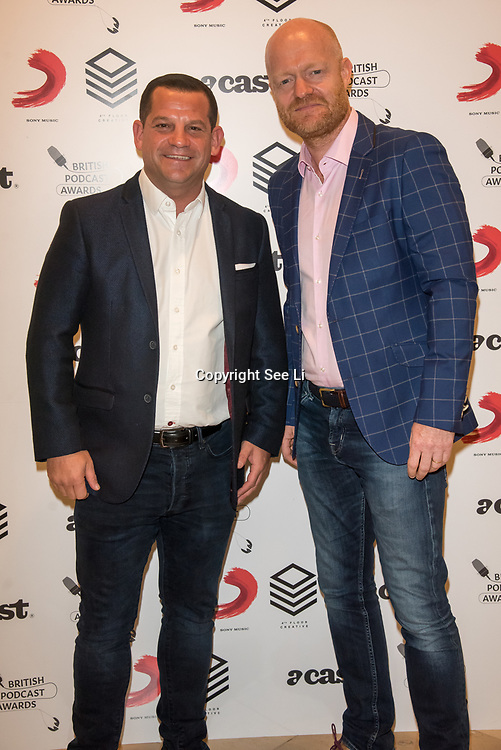 Spencer Oliver,Jake Wood attend the Annual award ceremony celebrating the best British podcasts. Supported by Sony Music's on 19 May 2018 at King's Place, London, UK.