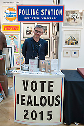 © Licensed to London News Pictures. 22/04/2015. Piccadilly, London. The Jealous Gallery with a topical election-orientated stand for the 30th London Original Print Fair, Europe's largest works–on–paper event, which takes place at the Royal Academy of Arts from 23 to 26 April 2015.  On display are works from all periods of printmaking, from the earliest woodcuts of Dürer, to the latest editions by contemporary masters. Photo credit : Stephen Chung/LNP