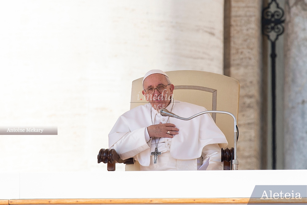 Vatican City - MARCH 06, 2019: Pope Francis speech during his weekly general audience in St. Peter's Square at the Vatican.