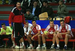 Coach of Slovan Boris Denic, Dominik Kastelic (7), Uros Bundalo (14) and Rok Bucuk (15)  at handball game RD Slovan vs RD Merkur  in 7th round of MIK First league, on October 24, 2008 in Ljubljana, Slovenia. (Photo by Vid Ponikvar / Sportal Images)