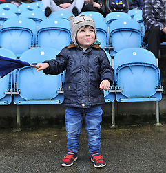 Young Kiltimagh fan watching the County intermediate final at McHale park on sunday last.<br /> Pic Conor Mckeown
