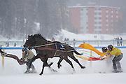 Skijoring at White Turf 2011 horse  racing event in St Moritz, Switzerland.