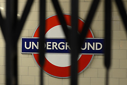 Tube Strike. The closed Marble Arch tube station. Marbe Arch, London, United Kingdom. Wednesday, 5th February 2014. Picture by Peter Kollanyi / i-Images