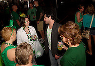 Kevin Brown of Matter of Chance talks with audience members following their set at the WTUE St. PatROCKS Party at Flanagan's Pub in Dayton, Saturday, March 17, 2012.