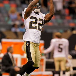 2009 August 14: New Orleans Saints cornerback Tracy Porter (22)  in warm ups prior to the start of a preseason opener between the Cincinnati Bengals and the New Orleans Saints at the Louisiana Superdome in New Orleans, Louisiana.