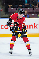 PENTICTON, CANADA - SEPTEMBER 17: Dillon Dube #59 of Calgary Flames passes the puck against the Edmonton Oilers on September 17, 2016 at the South Okanagan Event Centre in Penticton, British Columbia, Canada.  (Photo by Marissa Baecker/Shoot the Breeze)  *** Local Caption *** Dillon Dube;