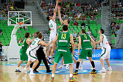 Mirza Begic of Slovenia vs Jonas Valanciunas of Lithuania during friendly match before Eurobasket Lithuania 2011 between National teams of Slovenia and Lithuania, on August 24, 2011, in Arena Stozice, Ljubljana, Slovenia. (Photo by Vid Ponikvar / Sportida)