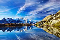 Mountain impression Lacs des Cheserys with Aiguilles de Chamonix, Mont Blanc - Europe, France, Haute Savoie, Aiguilles Rouges, Lacs des Chesery - Forenoon - September 2008