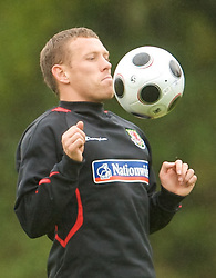 CARDIFF, WALES - Monday, October 13, 2008: Wales' captain Craig Bellamy during training at the Vale of Glamorgan Hotel ahead of the 2010 FIFA World Cup South Africa Qualifying Group 4 match against Germany. (Photo by David Rawcliffe/Propaganda)