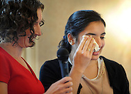 WARMISNER, PA -  OCTOBER 10: Pooja Tilvawala, 17, of Bensalem, Pennsylvania reacts before speaking to the audience at the 21st Annual YWCA Breakfast with Friends October 10, 2013 at Spring Mill Manor in Warminster, Pennsylvania.  (Photo by William Thomas Cain/Cain Images)