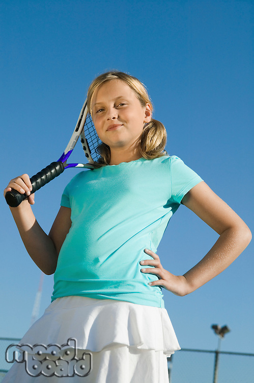 Girl Holding Tennis Racket
