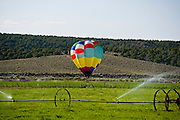 A hot air balloon lands in a farmer's field as part of the 2008 Panguitch Valley, Utah Balloon Rally.