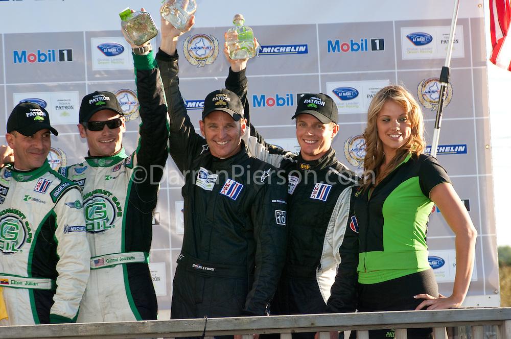 Class Winners Podium,#88 Velox Motorsport Porsche 911 GT3 Cup: Shane Lewis, Lawson Aschenbach,#99 Green Earth Team Gunnar Oreca FLM09: Gunnar Jeannette
