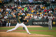 Oakland Athletics starting pitcher Paul Blackburn (58) pitches against the San Francisco Giants at Oakland Coliseum in Oakland, California, on July 31, 2017. (Stan Olszewski/Special to S.F. Examiner)