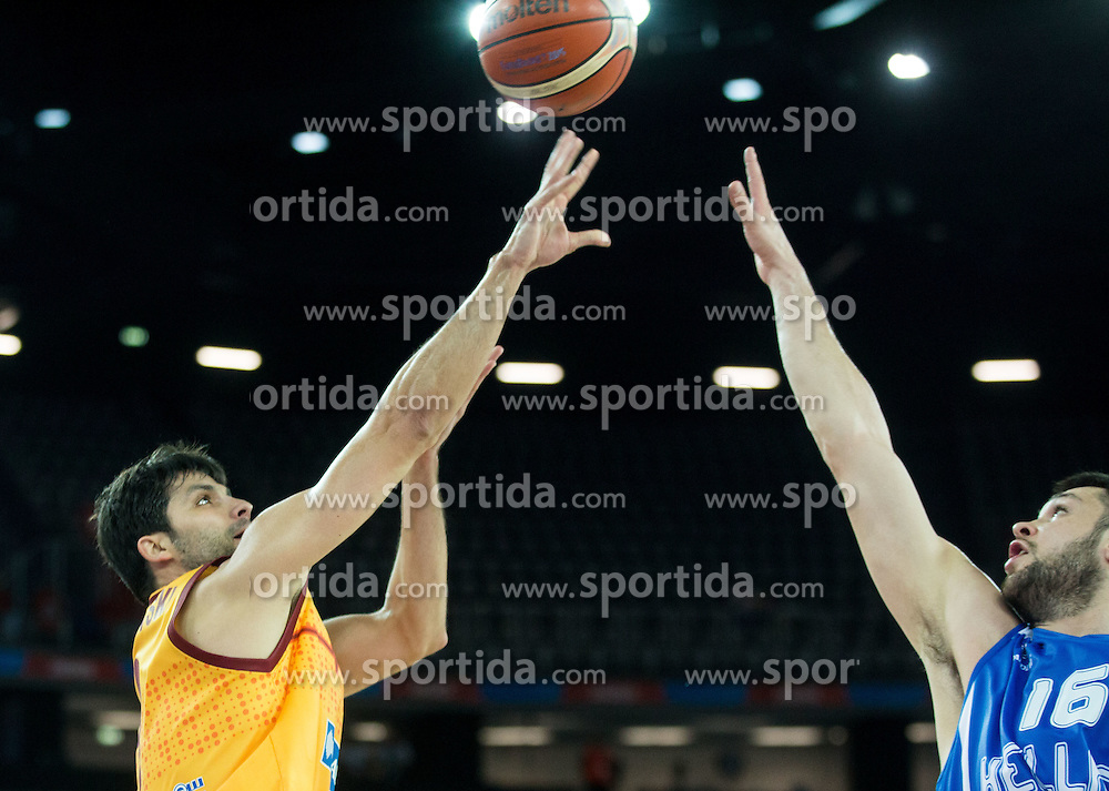 Damjan Stojanovski of Macedonia vs Kostas Papanikolaou of Greece during basketball match between FYR of Macedonia and Greece at Day 1 in Group C of FIBA Europe Eurobasket 2015, on September 5, 2015, in Arena Zagreb, Croatia. Photo by Vid Ponikvar / Sportida