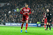 Ashley Fletcher (11) of Middlesbrough during the EFL Sky Bet Championship match between Queens Park Rangers and Middlesbrough at the Kiyan Prince Foundation Stadium, London, England on 9 November 2019.