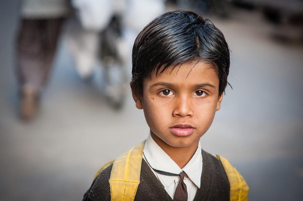 Boy in school uniform (India)