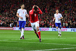 Hal Robson-Kanu of Wales looks dejected after missing a chance. - Mandatory by-line: Alex James/JMP - 12/11/2016 - FOOTBALL - Cardiff City Stadium - Cardiff, United Kingdom - Wales v Serbia - FIFA European World Cup Qualifiers