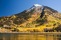 11,975 ft. Whitehouse Mountain and Beaver Lake in the Elk Mountains, near Marble, Colorado.