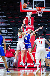 NORMAL, IL - January 03: Lexi Wallen shoots the 2nd shot over Hattie Westerfeld during a college women's basketball game between the ISU Redbirds and the Sycamores of Indiana State January 03 2020 at Redbird Arena in Normal, IL. (Photo by Alan Look)