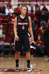 Nov 28, 2011; Stanford CA, USA;  Pacific Tigers guard Markus Duran (4) stands on the court against the Stanford Cardinal during the first half at Maples Pavilion. Stanford defeated Pacific 79-37. Mandatory Credit: Jason O. Watson-US PRESSWIRE