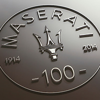 Maserati 100 years plaque at the Museo Panini, Modena, Italy, 2014