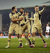 Mirco Antenucci scoring Leeds 3rd goal celebration during the Sky Bet Championship match between Fulham and Leeds United at Craven Cottage, London, England on 18 March 2015. Photo by Matthew Redman.