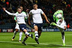 Preston North End's Greg Cunningham clears from a corner under pressure from Cardiff City's Nathaniel Mendez-Laing - Mandatory by-line: Matt McNulty/JMP - 12/09/2017 - FOOTBALL - Deepdale Stadium - Preston, England - Preston North End v Cardiff City - SkyBet Championship