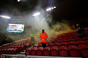 A flare let off by Leeds fans during the EFL Sky Bet Championship match between Middlesbrough and Leeds United at the Riverside Stadium, Middlesbrough, England on 2 March 2018. Picture by Paul Thompson.