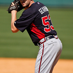 Feb 27, 2013; Lakeland, FL, USA; Atlanta Braves relief pitcher Cory Gearrin (53) against the Detroit Tigers during the a spring training game at Joker Marchant Stadium. Mandatory Credit: Derick E. Hingle-USA TODAY Sports
