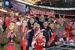 Bristol City fans celebrate as Bristol City beat Walsall in the Johnstone Paint Trophy - Photo mandatory by-line: Dougie Allward/JMP - Mobile: 07966 386802 - 22/03/2015 - SPORT - Football - London - Wembley Stadium - Bristol City v Walsall - Johnstone Paint Trophy Final