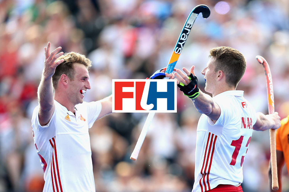LONDON, ENGLAND - JUNE 17: Sam Ward of England celebrates scoring the sixth goal for England with Christopher Griffiths of England during the Hero Hockey World League Semi Final match between England and Malaysia at Lee Valley Hockey and Tennis Centre on June 17, 2017 in London, England.  (Photo by Alex Morton/Getty Images)