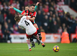 Jordy Clasie of Southampton fouls Jack Wilshere of Bournemouth - Mandatory by-line: Alex James/JMP - 18/12/2016 - FOOTBALL - Vitality Stadium - Bournemouth, England - Bournemouth v Southampton - Premier League