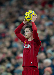 LIVERPOOL, ENGLAND - Saturday, November 30, 2019: Liverpool's Andy Robertson takes a throw-in during the FA Premier League match between Liverpool FC and Brighton & Hove Albion FC at Anfield. (Pic by David Rawcliffe/Propaganda)