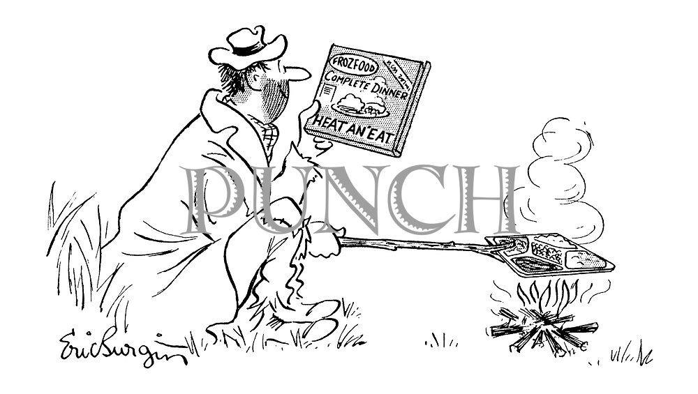 (A tramp is heating up his frozen dinner by holding the tray over a campfire with a twig)