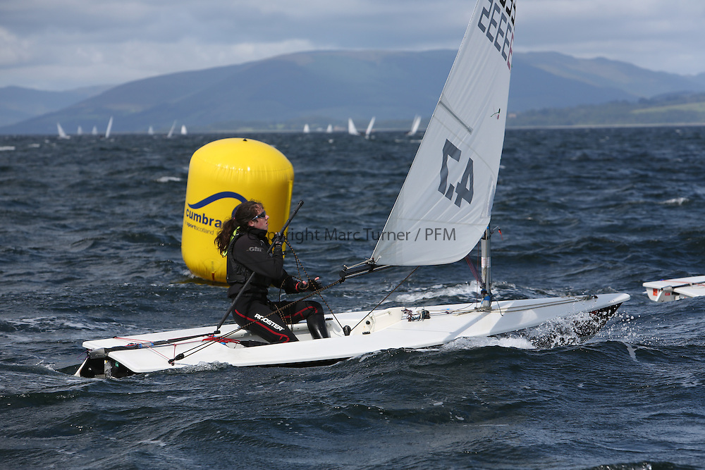 Day 4 NeilPryde Laser National Championships 2014 held at Largs Sailing Club, Scotland from the 10th-17th August.<br /> <br /> 133335, Millie HOPKINS<br /> <br /> Image Credit Marc Turner