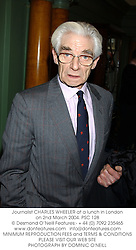 Journalist CHARLES WHEELER at a lunch in London on 2nd March 2004.PSC 128