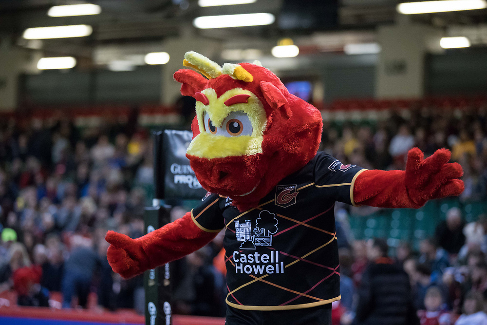 Dragons mascot Rodney enjoying the pre match atmosphere<br /> <br /> Photographer Simon King/Replay Images<br /> <br /> Guinness PRO14 Round 21 - Dragons v Scarlets - Saturday 28th April 2018 - Principality Stadium - Cardiff<br /> <br /> World Copyright © Replay Images . All rights reserved. info@replayimages.co.uk - http://replayimages.co.uk
