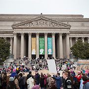 "A makeshift ""constitution"" filled with thousands of signatures, made it's way down Constitution Avenue, past the National Archives, during the Women's March on Washington where an anticipated 200,000 people turned into an estimated 500,000 to 1 million people, on Saturday, January 21, 2017.  John Boal Photography"
