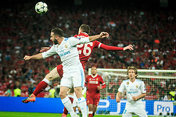 Dani Carvajal of Real Madrid vs Andy Robertson of Liverpool during the UEFA Champions League final football match between Liverpool and Real Madrid at the Olympic Stadium in Kiev, Ukraine on May 26, 2018.Photo by Sandi Fiser / Sportida