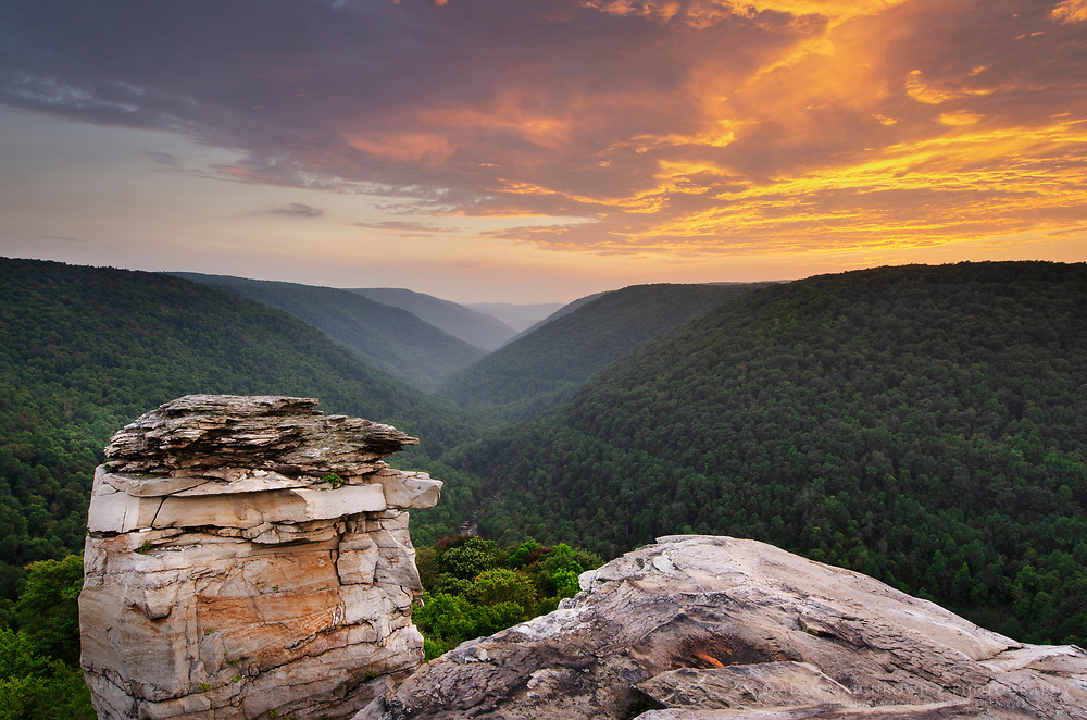 Clouds glowing in twilight afterglow. Lindy Point Overlook, Blackwater Falls West Virgina.