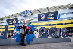 August 15, 2018 - Tallinn, Estonia - A fan seen posing with a banner before the UEFA Super Cup..The 2018 UEFA Super Cup was the 43rd edition of the UEFA Super Cup, an annual football match organized by UEFA and contested by the reigning champions of the two main European club competitions, the UEFA Champions League and the UEFA Europa League. It was played at the A. Le Coq Arena in Tallinn, Estonia. (Credit Image: © Hendrik Osula/SOPA Images via ZUMA Wire)